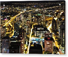 Acrylic Print featuring the photograph Cityscape Golden Burrard Bridge Mdlxiv by Amyn Nasser