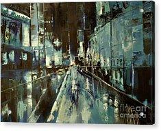 Acrylic Print featuring the painting Cityscape by Maja Sokolowska
