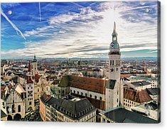 Cityscape Of Munich Acrylic Print by Michael Fellner