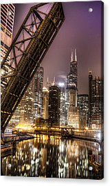 Cityscape Reflection In Chicago River March 2014 Acrylic Print by Michael  Bennett