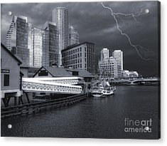 Acrylic Print featuring the photograph Cityscape Storm by Gina Cormier