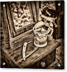 Civil War Shaving Mug And Razor Black And White Acrylic Print by Paul Ward