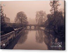 Claire College Bridge Cambridge Acrylic Print by David Warrington