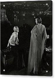 Claire Coulter And Avis Newcomb Wearing Evening Acrylic Print by Edward Steichen