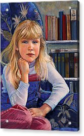 Girl In Wingback Chair Acrylic Print