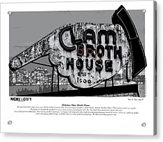 Clam Broth House Sign Acrylic Print