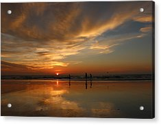 Clam Digging At Sunset -1  Acrylic Print