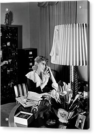 Clare Boothe Luce At Her Desk Acrylic Print