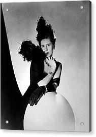 Clare Boothe Luce Wearing Feathers Acrylic Print by Horst P. Horst