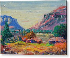 Clarence Mountain Free State South Africa Acrylic Print by Thomas Bertram POOLE