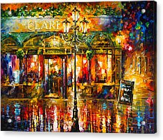 Clarens Misty Cafe Acrylic Print by Leonid Afremov