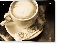 Classic Cafe Con Leche Cup In Spain Acrylic Print by Calvin Hanson
