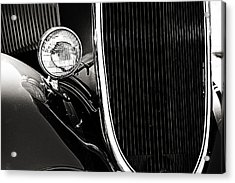 Classic Car Grille Black And White Acrylic Print by M K  Miller
