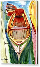 Classic Dinghy - Watercolor Sketch Acrylic Print by Ron Wilson