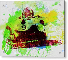 Classic Ferrari On Race Track Acrylic Print by Naxart Studio