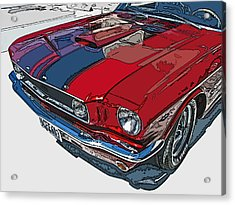Classic Ford Mustang Nose Study Acrylic Print by Samuel Sheats