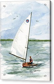 Acrylic Print featuring the painting Classic Moth Boat by Nancy Patterson