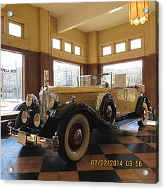 Acrylic Print featuring the photograph Classic Packard In Showroom by Eric Switzer