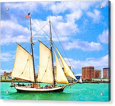 Classic Tall Ship In Boston Harbor Acrylic Print by Mark E Tisdale