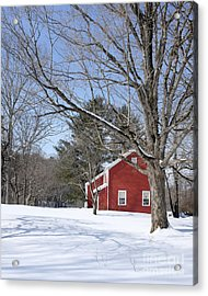 Classic Vermont Red House In Winter Acrylic Print by Edward Fielding