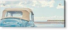 Classic Vintage Morris Minor 1000 Convertible At The Beach Acrylic Print