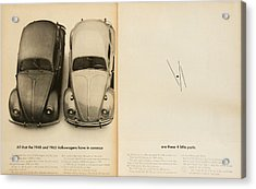 Classic Volkswagen Beetle Vintage Advert Acrylic Print by Georgia Fowler