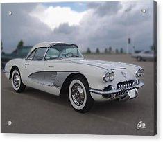Classic White Corvette Acrylic Print