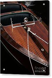 Classic Wooden Power Boat Acrylic Print by Edward Fielding