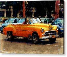 Classic Yellow Havana Acrylic Print by Fran Hogan