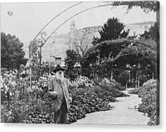 Claude Monet In His Garden At Giverny Acrylic Print by French School