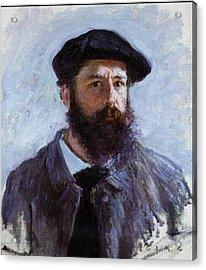 Claude Monet Self Portrait Acrylic Print by Claude Monet - L Brown