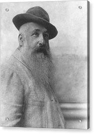 Claude Monet Wearing A Hat Acrylic Print by Adolphe De Meyer