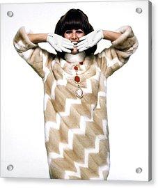 Claudia Cardinale Wearing Emeric Partos Acrylic Print by Bert Stern