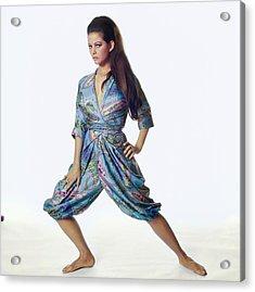 Claudia Cardinale Wearing Hollywood Vassarette Acrylic Print by Bert Stern