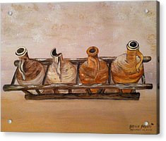 Clay Jugs In A Row Acrylic Print by Brenda Brown