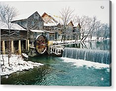 Clear Winter Day At The Old Mill Acrylic Print by John Saunders