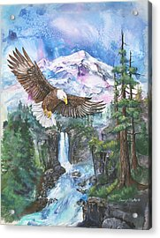 Acrylic Print featuring the painting Cleared For Landing Mount Baker by Sherry Shipley