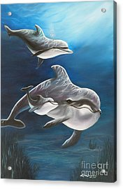Clearwater Beach Dolphins Acrylic Print