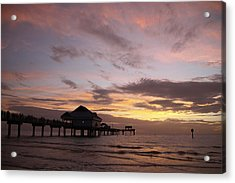 Clearwater Beach Sunset Acrylic Print by Lori  Burrows