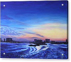 Acrylic Print featuring the painting Clearwater Beach Sunset by Penny Birch-Williams
