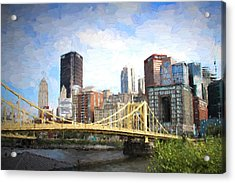 Clemente Bridge Painting Acrylic Print by Stephen Falavolito