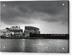 Cleveland Browns Stadium From The Inner Harbor Acrylic Print by Kenneth Krolikowski