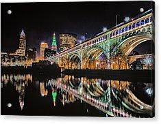 Cleveland Christmas Bridge Acrylic Print