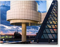 Cleveland Cliffs Barge And Rock Hall Acrylic Print