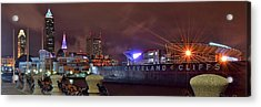 Cleveland Lakefront Night Panorama Acrylic Print