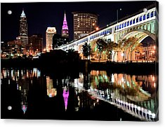 Cleveland Ohio Reflects Acrylic Print by Frozen in Time Fine Art Photography