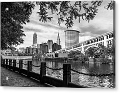 Cleveland River Cityscape Acrylic Print by Dale Kincaid