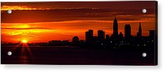 Cleveland Silhouette Acrylic Print by Dale Kincaid