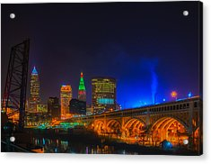Cleveland Skyline At Christmas Acrylic Print