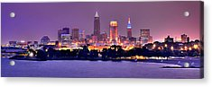 Cleveland Skyline At Night Evening Panorama Acrylic Print